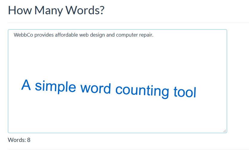 How Many Words? - A simple word counting tool from WebbCo
